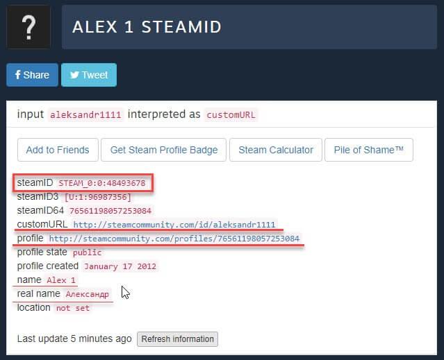 Информация по стим id в steamidfinder.com
