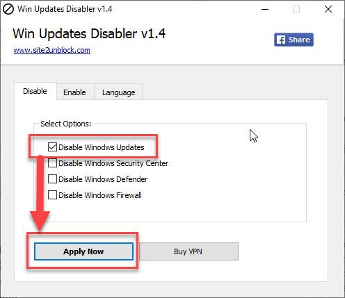 Отключение апдейтов виндовс в программе Win Updates Disabler