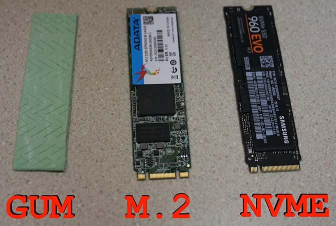 Сравнение размера накопителей M.2 с жевательной резинкой