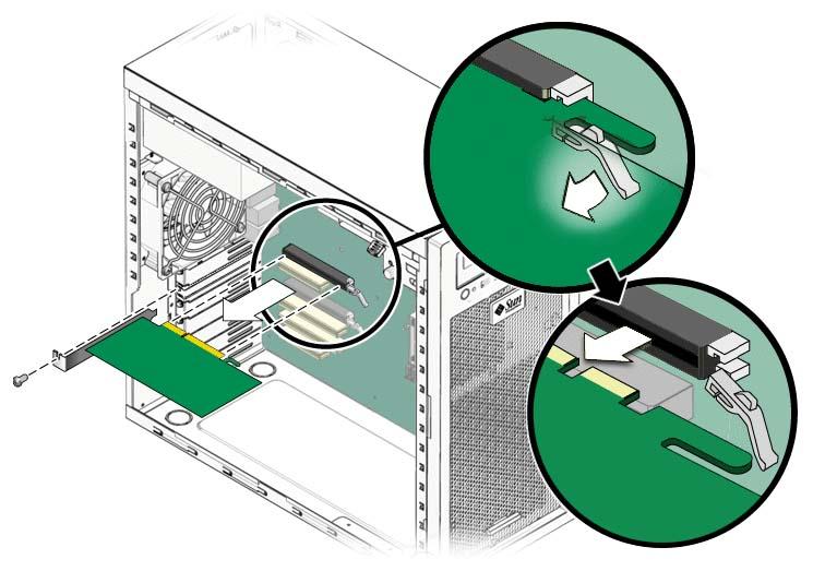 Защелка и снятие видеокарты из корпуса