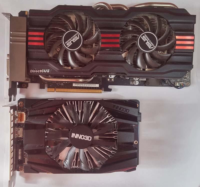 Сравнение размеров систем охлаждения двух видеокарт